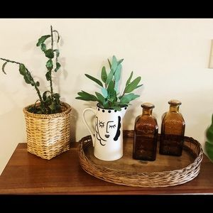 Vintage wicker basket and tray